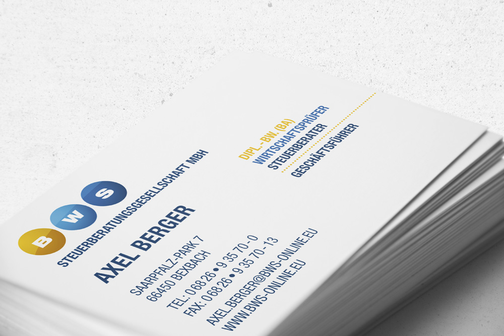 Visitenkarten sind nur ein Teil der Werbematerialien, die wir für die BMS Steuerberatungsgesellschaft mbH gestaltet haben.