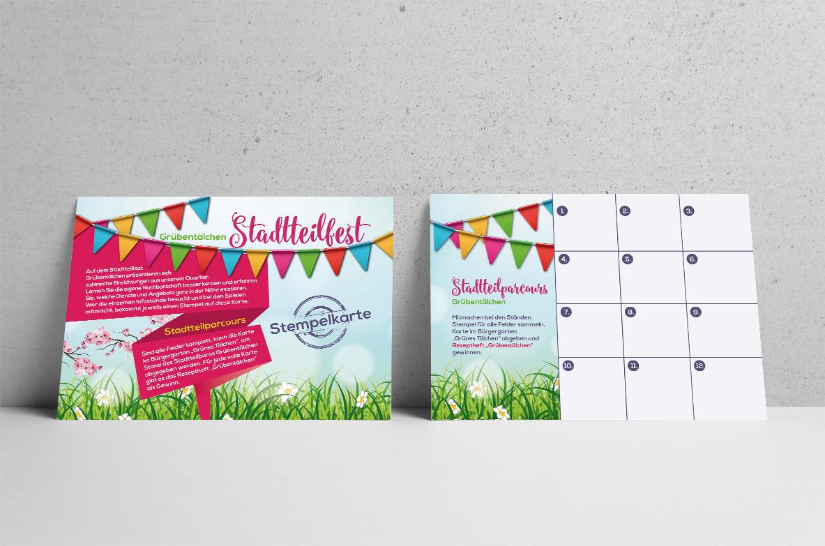 Für das Stadtteilfest 2018 im Grübentälchen haben wir Flyer bzw. Stempelkarten gestaltet und drucken gelassen. Mit diesen konnte man Stempel sammeln und dann einen Preis gewinnen.