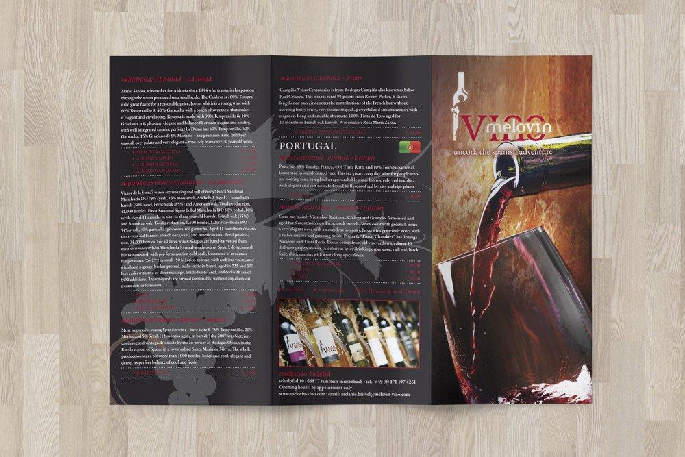 Ein dreiseitiger Flyer wurde zusätzlich zu den Werbematerilien für MelovinVino gestaltet.