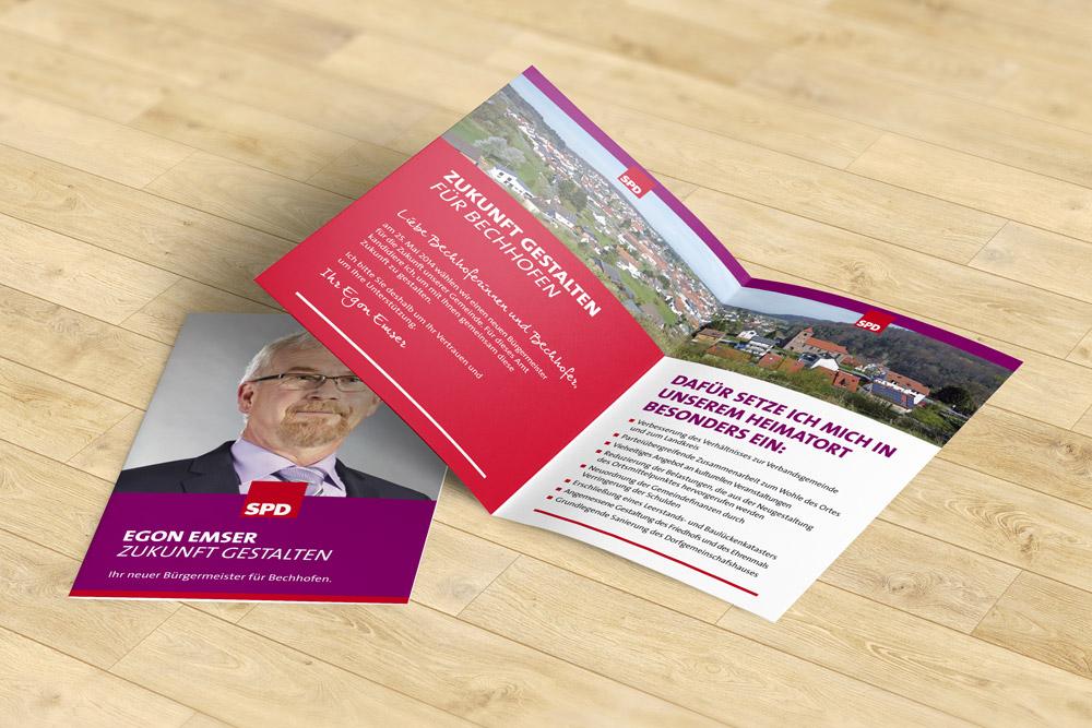 Flyer als Werbematerialien eignen sich sehr gut im politischen Wahlkampf. Die SPD Bechhofen hatte uns beauftragt diese Kandidaten-Flyer zu gestalten.