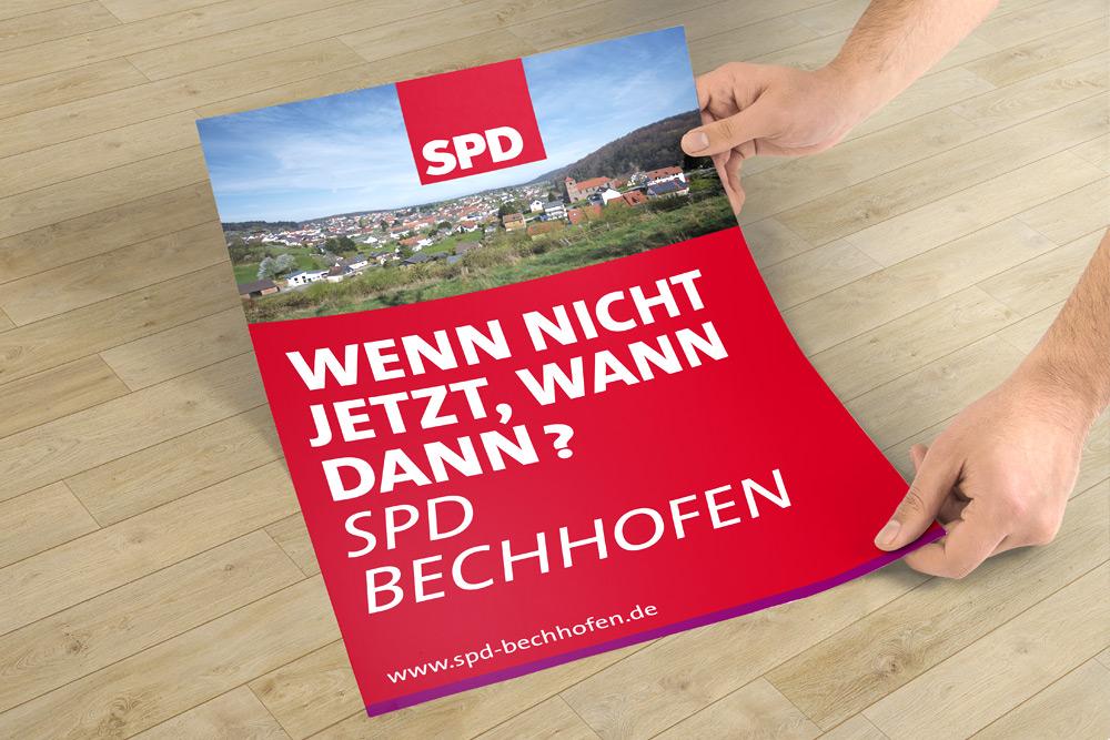 Plakate eignen sich sehr gut als Werbematerialien, vor allem im politischen Wahlkampf. Die Gestaltung der Plakate für die SPD Bechhofen durften wir übernehmen.
