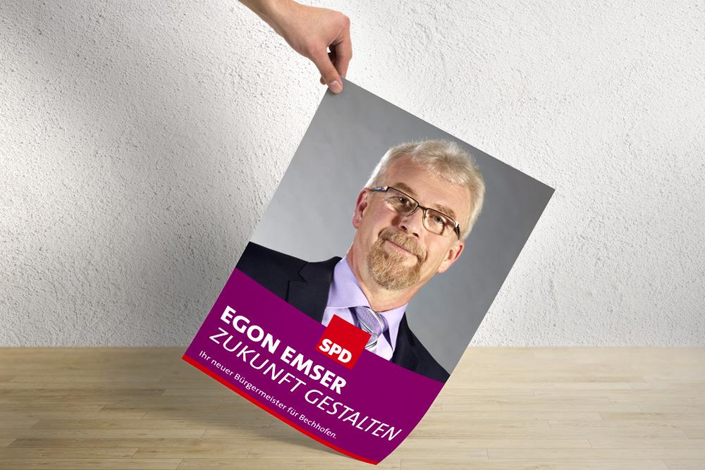 Bei einem politischen Wahlkampf darf eine Sache bei den Werbematerialien nicht fehlen - die Plakate. Die Gestaltung hierfür durften wir für die SPD in Bechhofen übernehmen.