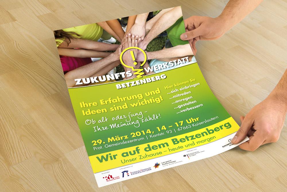 Die Zukunftswerkstatt Betzenberg in Kaiserslautern benötigte Werbematerialien. Hier konnten wir mit der Gestaltung eines Posters helfen.