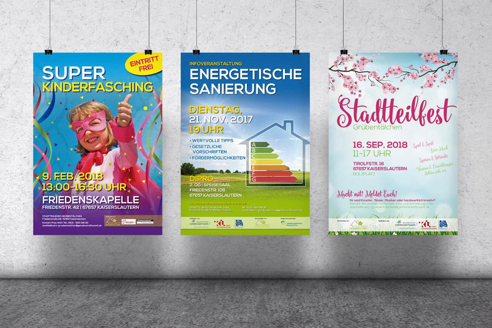 Für zahlreiche Veranstaltungen haben wir für das Stadtteilbüro Grübentälchen Poster gestaltet.