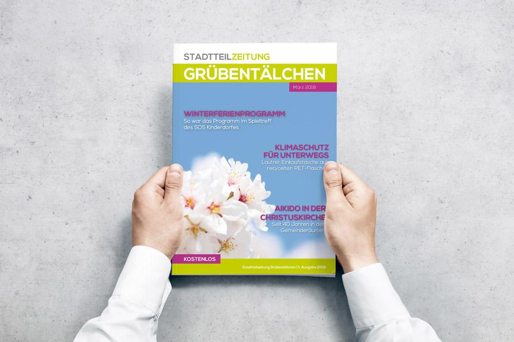 Einmal im Quartal veröffentlicht das Stadtteilbüro Grübentälchen eine Stadtteilzeitung für welches wir das Cover gestalten.