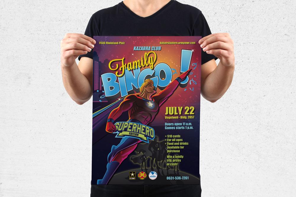 """MWR Kaiserslautern nutzt viele Werbematerialien um für seine Events zu werben. Für das """"Family Bingo Superhearo"""" Event haben wir dieses Poster gestaltet."""