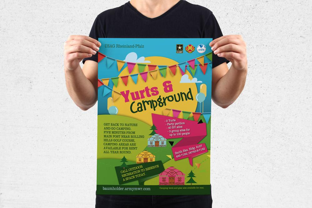 MWR Kaiserslautern nutzt viele Werbematerialien um für seine Events zu werben. Für das Yurts & Campground Event haben wir dieses Poster gestaltet.