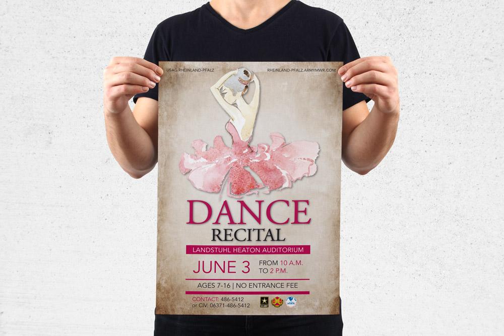 MWR Kaiserslautern nutzt viele Werbematerialien um für seine Events zu werben. Für das Dance Recital Event haben wir dieses Poster gestaltet.