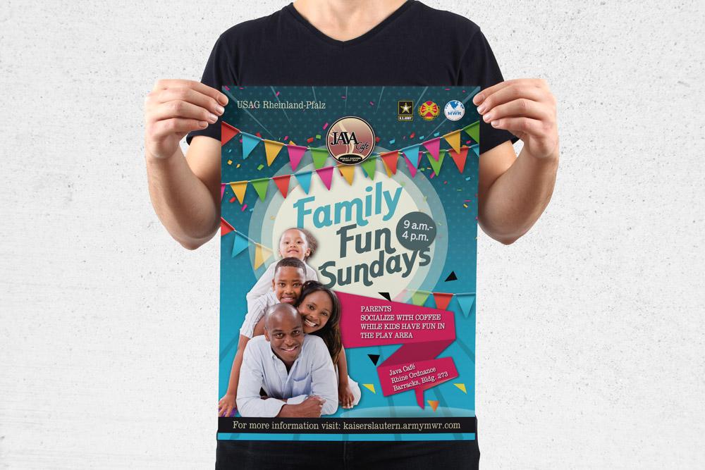 MWR Kaiserslautern nutzt viele Werbematerialien um für seine Events zu werben. Für das Family Fun Sundays Event haben wir dieses Poster gestaltet.