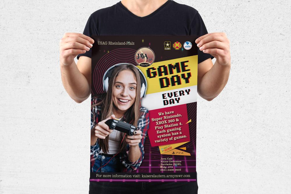 MWR Kaiserslautern nutzt viele Werbematerialien um für seine Events zu werben. Für das Game Day Event haben wir dieses Poster gestaltet.
