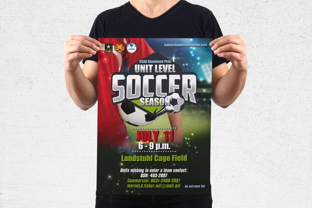MWR Kaiserslautern nutzt viele Werbematerialien um für seine Events zu werben. Für das Unit Level Soccer Season Event haben wir dieses Poster gestaltet.