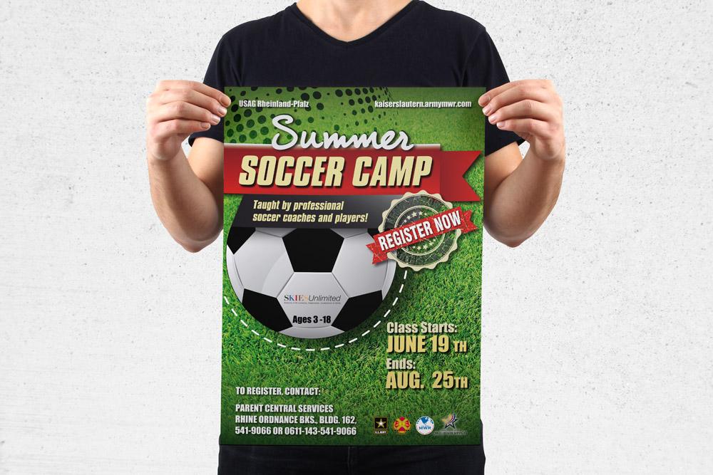 MWR Kaiserslautern nutzt viele Werbematerialien um für seine Events zu werben. Für das Summer Soccer Camp Event haben wir dieses Poster gestaltet.