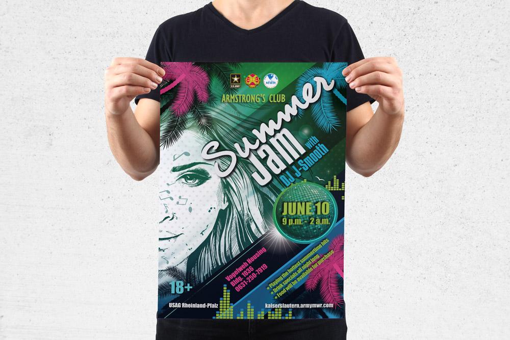 MWR Kaiserslautern nutzt viele Werbematerialien um für seine Events zu werben. Für das Summer Jam Event haben wir dieses Poster gestaltet.